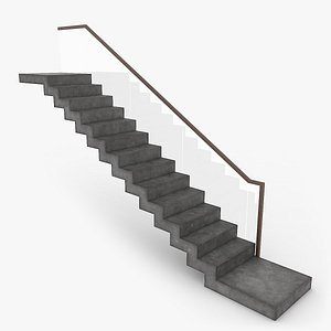 3D modern concrete floating stair