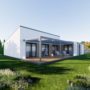 Bungalow 6 - Created with fully parametric Revit Families 3D model