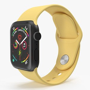 Apple Watch SE Black with Yellow Band 3D model