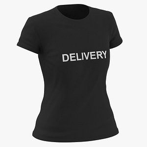Female Crew Neck Worn Black Delivery 02 3D model