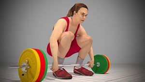 3D Animated model of a weightlifter Low-poly