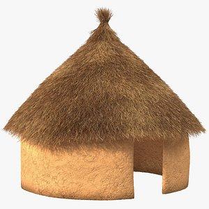 Traditional African Mud Hut Fur model