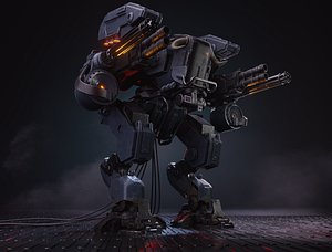 Stylized combat robot PBR LowPoly game-ready VR  AR  low-poly 3d model 3D model
