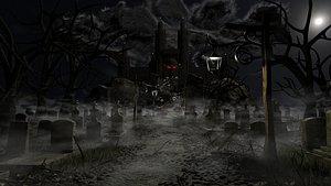 Graveyard Castle Scene 3D model