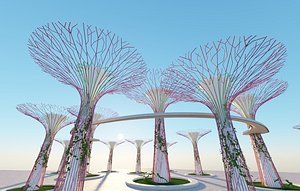 3D Gardens by the Bay Singapore supertrees model