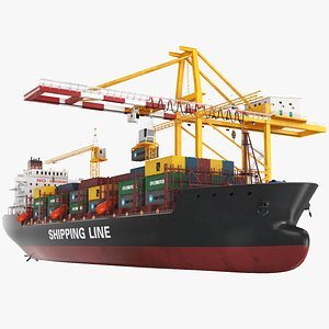 Container Ship With Gantry Crane 3D model