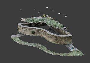 3D Flowerbed angle curved garden decoration SCANNED MODEL 3D model