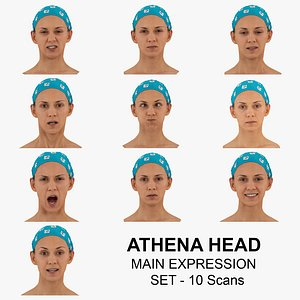 3D Athena Real Head Main Expression Set 10 RAW Scans Collection model