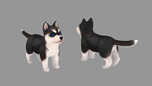 Cartoon pet puppy - Husky - baby dog 3D model