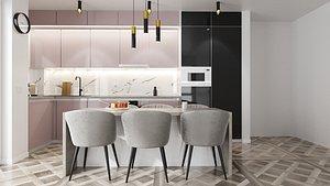 3D PRO Kitchen Pink and Black Setup