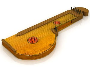 3D Zither Musical Instrument model