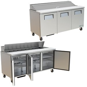 3D model FOOD PREP TABLE TRUE TSSU SERIES TSSU-72-18-HC