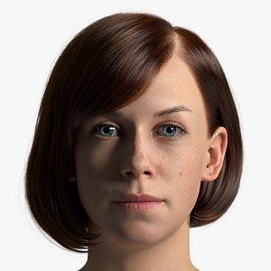 3D Rhea Female Head with Hair model