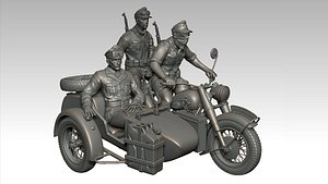3D german motorcycle crew ww2