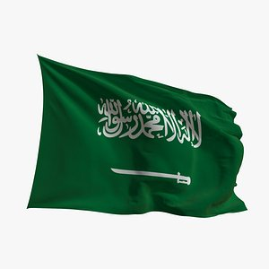 Realistic Animated Flag - Microtexture Rigged - Put your own texture - Def Saudi Arabia model