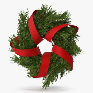 3D Christmas Wreath with Red Ribbon 2