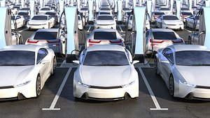 3D parking electric cars model