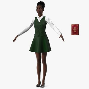 3D Black Young Woman Student T Pose