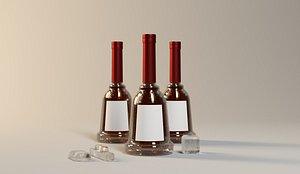 Foreign wine wine bottle whiskey XO custom vodka brandy red wine bottle wine bottle square wine bott 3D model
