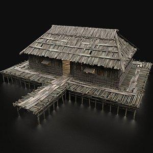 3D swamp wetland wooden model