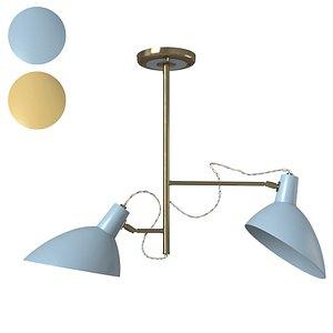 Retro Tiffany Mustard 2 Light Ceiling Lamp 3D