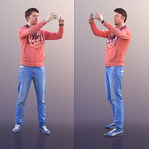 10031 John Casual Man Taking A Picture With His Phone 3D model