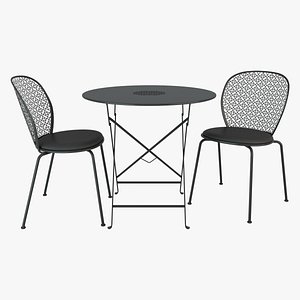 3D fermob lorette padded chair and table model