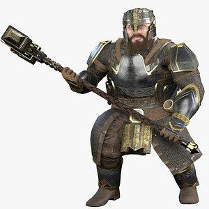 3D dwarf warrior character model