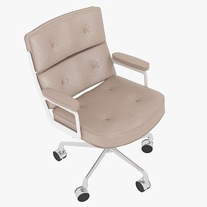 3D model Eames Executive Chair White Frame Beige Leather