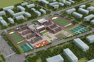 School modern school high school football field track field bird eye view school whole sch 3D model