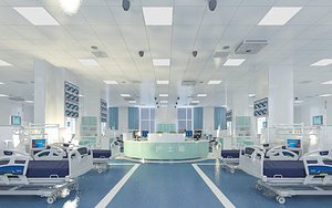 3D Setting up medical equipment of obstetrics and gynecology, operating table, emergency room, inpatien