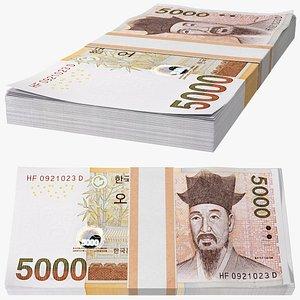 South Korean 5000 Won Banknotes Bundle 3D model