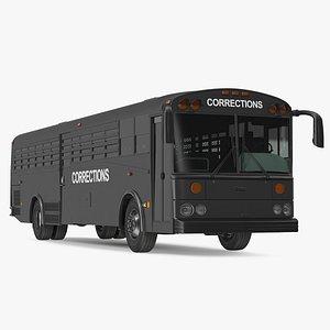 Prison Transport Bus Thomas Saf T Liner Black 3D model