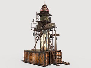 Post-Apocalyptic Lighthouse 3D model