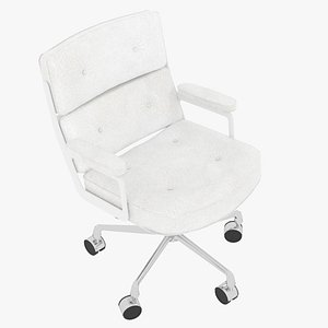3D Eames Executive Chair White Frame White Leather