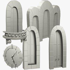 medieval building parts door 3D model
