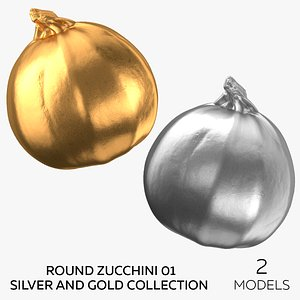Round Zucchini 01 Silver and Gold Collection - 2 models 3D