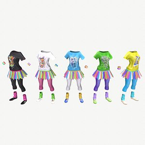 Sport girls outfit - 5 colors 3D model