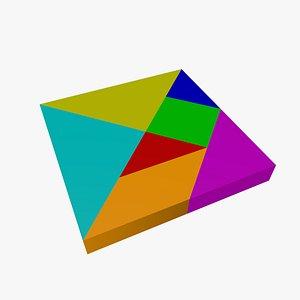 3D model puzzle tan tangrams