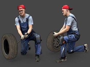 Stylized Car Mechanic Character 3D model