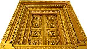 3D model traditional decorative door