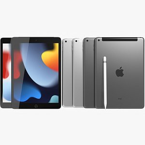 Apple iPad 10 2 2021 9th Gen WiFi and Cellular with Pencil All Colors 3D model