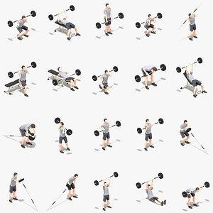 Barbells Worksout Animation Bundle 3D model