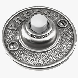 doorbell button silver door 3D model