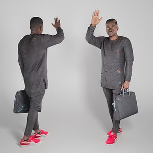 Handsome stylish young man with bag waving 303 3D