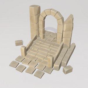 3D handpainted ancient ruins model