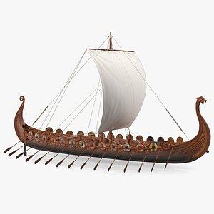 3D Viking Drakkar Rigged