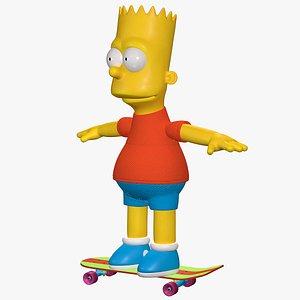 Bart Simpson Character Skateboarding model