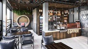 3D coffee shop design