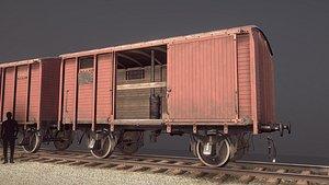 3D railway covered goods wagon model